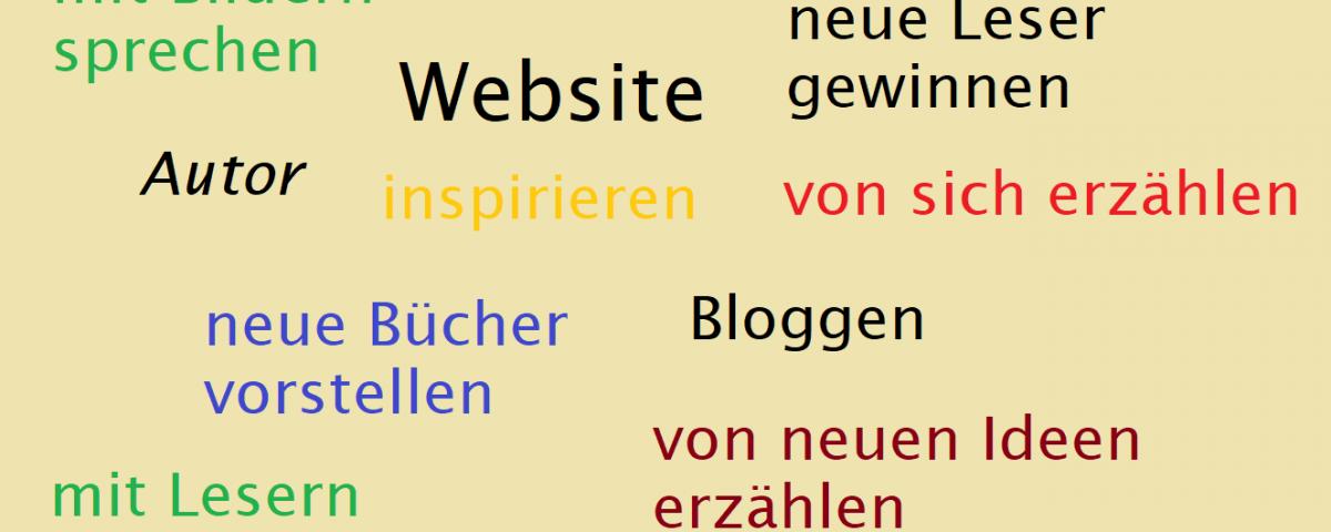 Grafik mit Schlagworten zur Autoren-Website